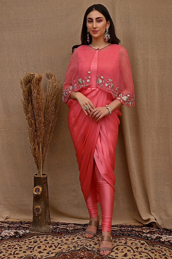 Rose Pink Tunic Set With Embroidered Cape by NITISHA