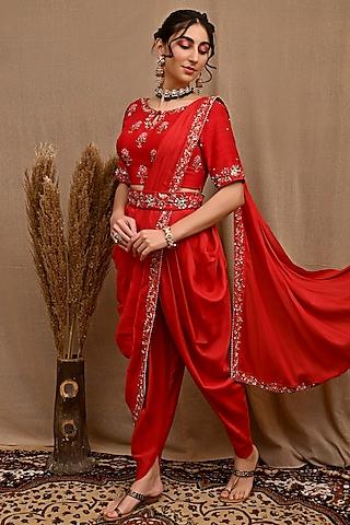 Red Hand Embroidered Pre-Draped Dhoti Saree Set by NITISHA