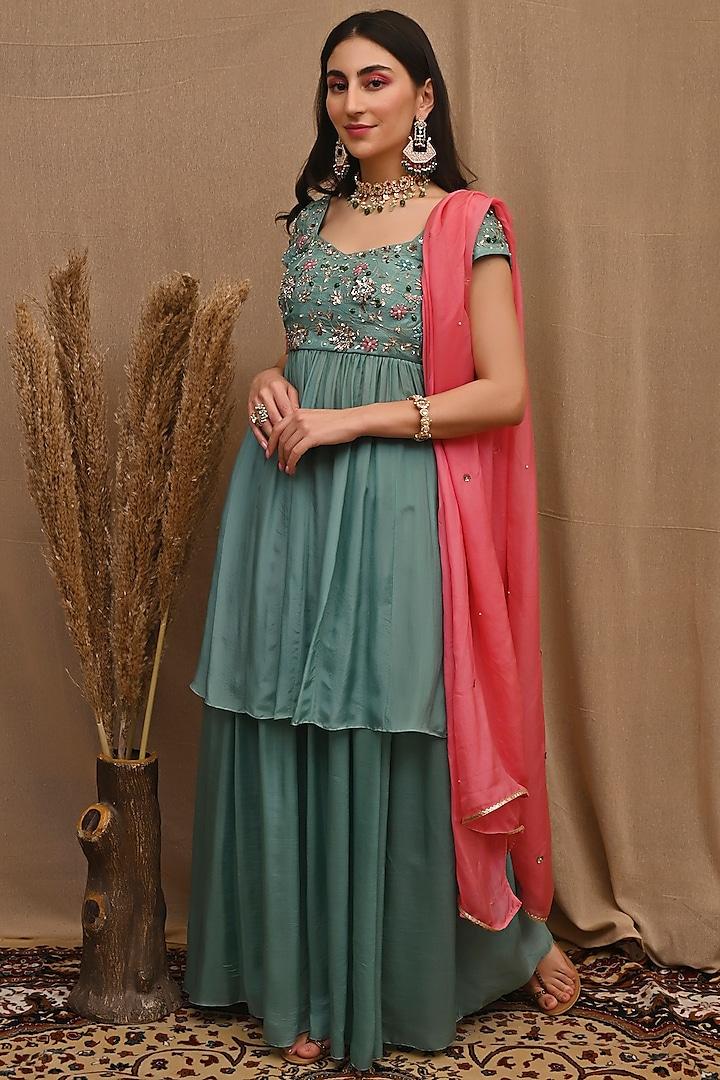 Sae Green Embroidered Sharara Set by NITISHA