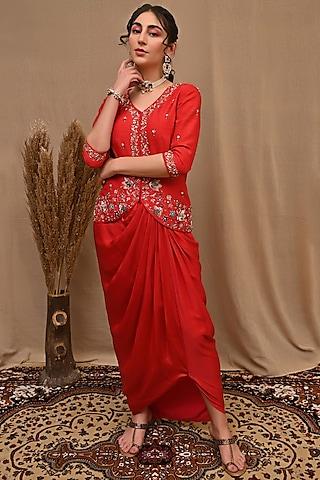 Red Hand Embroidered Draped Skirt Set by NITISHA