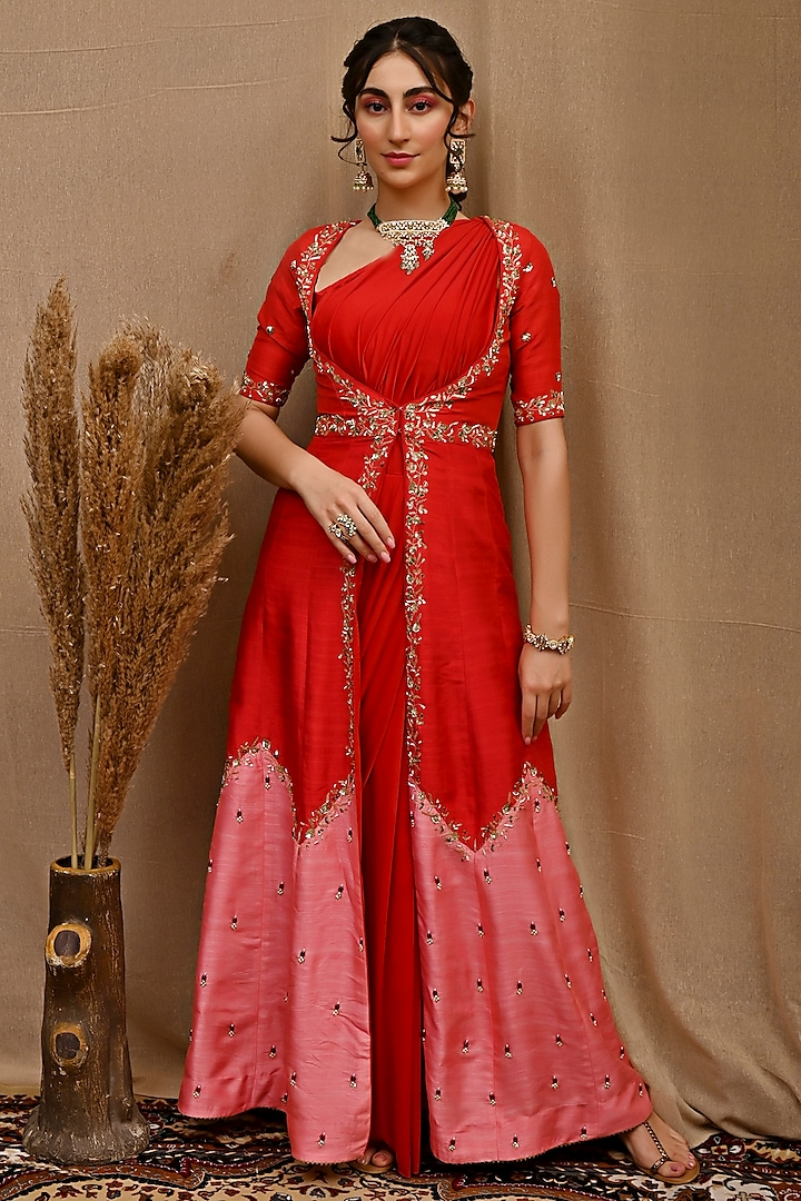 Red Pre-Draped Saree Set With Hand Embroidered Jacket by NITISHA