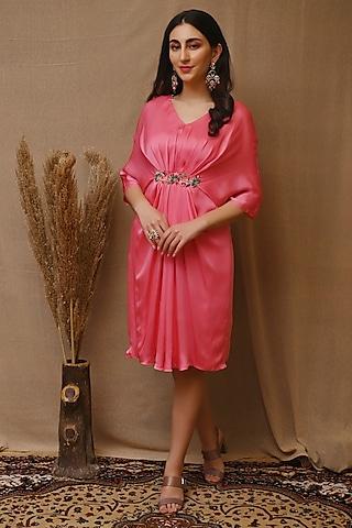 Rose Pink Hand Embroidered Kaftan Dress by NITISHA