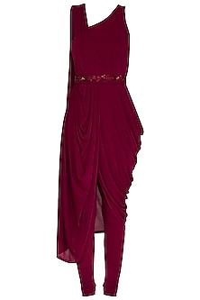 Wine Shimmery Pre-Draped Saree With Churidar Pants & Belt by NITISHA