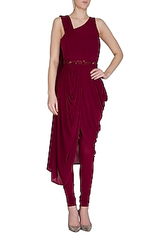 Wine Shimmery Pre-Draped Saree With Churidar Pants & Belt by NITISHA