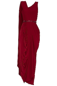 Red Embellished Pre-Draped Saree by NITISHA