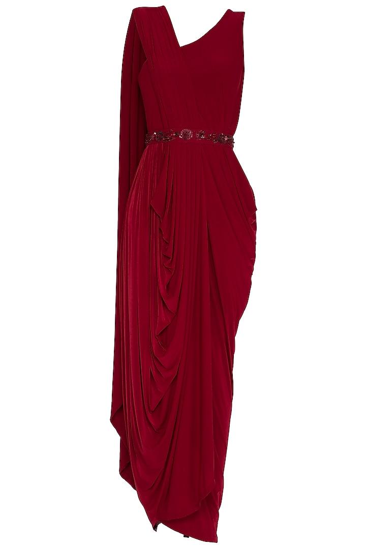 Red Embellished Pre-Draped Saree by NITISHA