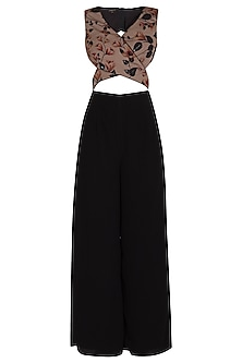 Black Printed & Embellished Jumpsuit by NITISHA