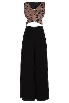 Black Printed & Embellished Jumpsuit by NITISHA