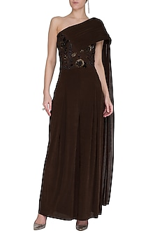 Brown Embellished Draped Jumpsuit by NITISHA