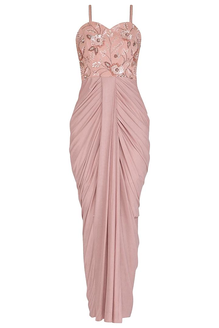 Blush Pink Embellished Draped Gown by NITISHA