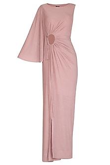 Blush Pink Draped Gown by NITISHA