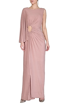 Blush Pink Draped Gown by NITISHA