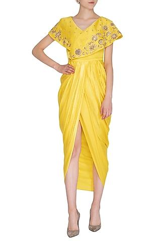 Yellow Embroidered Draped Dress by NITISHA
