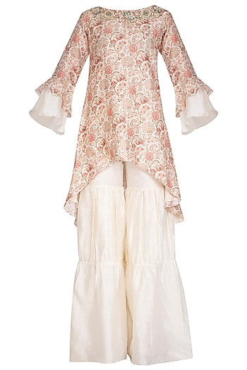 White Embroidered Kurta With Gharara by NITISHA