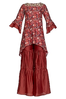 Red Embroidered Kurta With Gharara by NITISHA