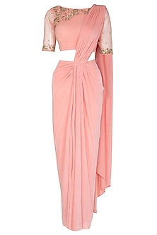 Peach Embroidered Pre-Draped Saree Set by NITISHA