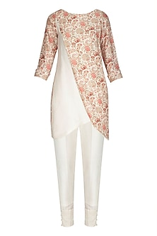 White Printed Kurta With Pants by NITISHA