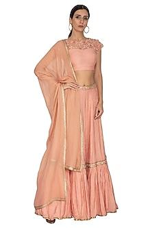 Pink Embroidered Lehenga Set by NITISHA