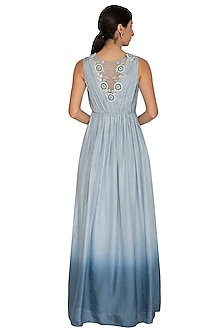 Dusky Blue Ombre Embroidered Gown by NITISHA