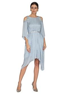 Dusky Blue Embroidered Cold Shoulder Dress by NITISHA