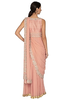 Peach Embroidered Pre-Draped Saree by NITISHA