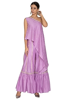 Lilac Embroidered Sharara Pants With Tunic by NITISHA