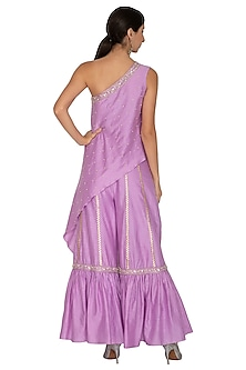 Lilac Embroidered Sharara Pants With Tunic by NITISHA