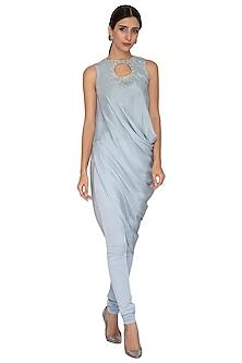 Dusky Blue Embroidered Tunic With Churidaar Pants by NITISHA
