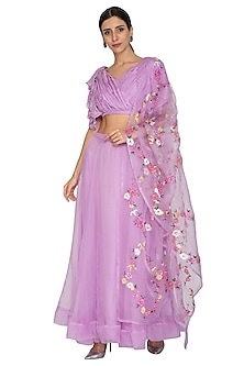 Lilac Painted & Embroidered Lehenga Set by NITISHA