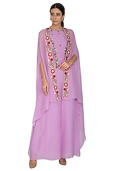 Lilac Sharara Pants With Embroidered Top & Cape by NITISHA