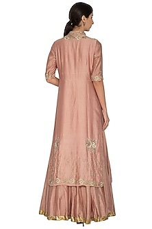 Petal Pink Anarkali With Embroidered Jacket by NITISHA