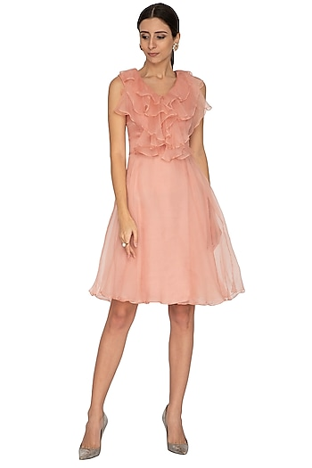 Petal Pink Ruffled Dress With Belt by NITISHA