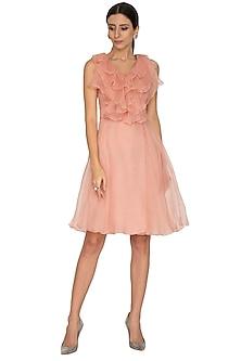 Petal Pink Ruffled Dress With Belt by NITISHA