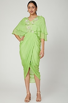 Mint Green Embroidered Draped Dress by NITISHA