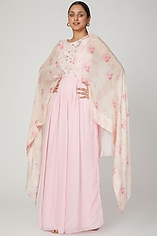 Blush Pink Printed & Embroidered Gown by NITISHA