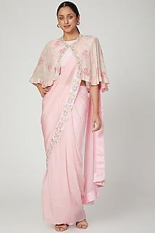 Blush Pink Embroidered Pre-Stitched Saree Set by NITISHA