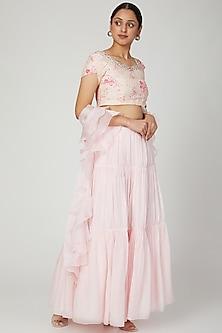 Blush Pink Embroidered & Printed Lehenga Set by NITISHA