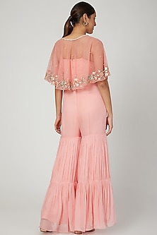 Peach Embroidered Cape WIth Jumpsuit by NITISHA