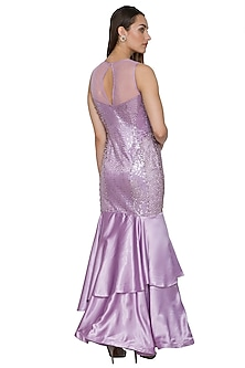Lilac Embroidered Mermaid Gown by NITISHA
