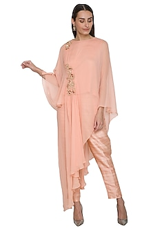 Peach Embroidered Tunic With Pants by NITISHA