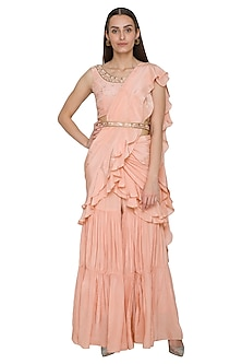 Peach Pre-Stitched Pant Saree Set With Belt by NITISHA-SHOP BY STYLE