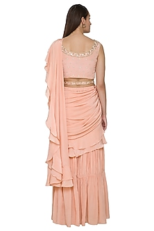 Peach Pre-Stitched Pant Saree Set With Belt by NITISHA