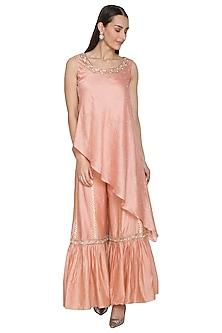 Peach Embroidered Tunic With Sharara Pants by NITISHA
