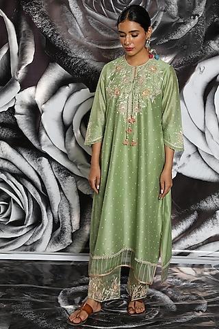 Mint Green Embroidered Kurta Set by Niti Bothra