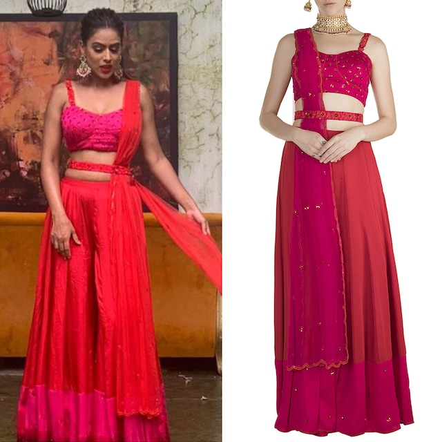 Red Embroidered Blouse With Palazzo Pants, Blouse & Belt by Salian by Anushree