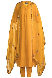 Mustard Embroidered Kurta With Pants & Jacket by Nidhi Agarwal