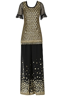 Black Embroidered Sharara Set by Nitya Bajaj