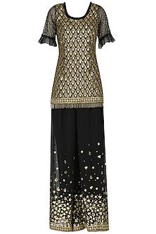 Black Embroidered Sharara Set by Nitya Bajaj