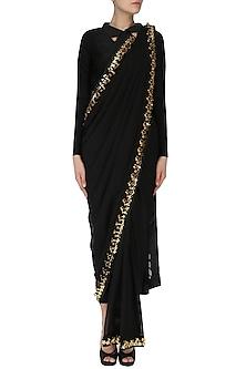 Black Embroidered Concept Saree by Nitya Bajaj