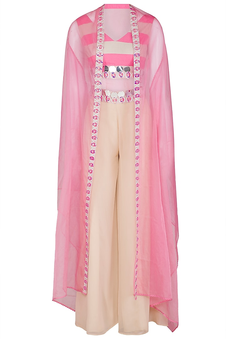 Hot Pink Sharara Set With Embellished Cape Jacket by Nitya Bajaj